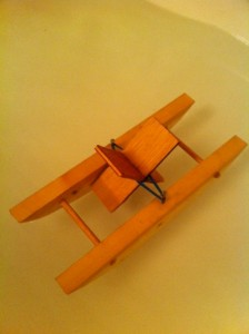 Wooden Paddle Boat Made By Hand Wood Nails Elastic