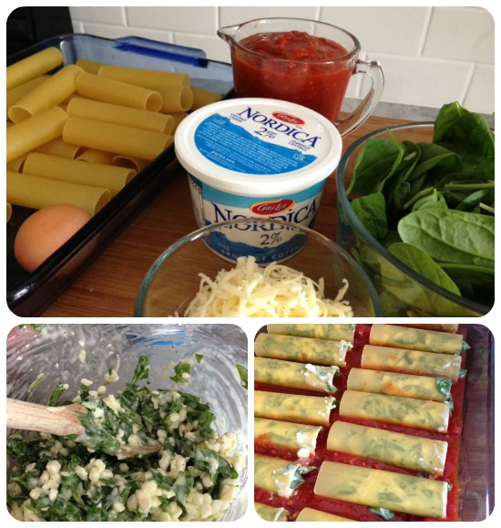 cannelloni with cottage cheese prep