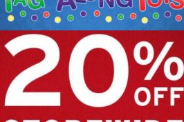 SAVE 20% at Tag Along Toys until October 23